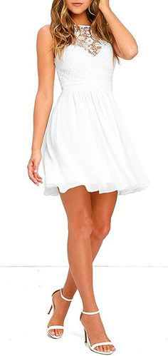 Hum a happy tune when you take a twirl in the Jolly Song White Lace Skater Dress! Crocheted lace tops a sweetheart neckline and padded bodice. Grad Dresses, Trendy Dresses, Elegant Dresses, Homecoming Dresses, Cute Dresses, Prom Dress, Skater Dress, Dress Skirt, Dress Lace
