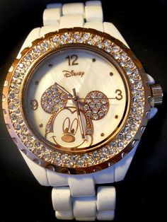 Disney Mickey Watch  Rhinestone  White New Rose Gold Color Bezel Mother Of Pearl #Disney #Casual