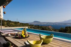 Villa Oikia Marathi, Crete, Chania, Greece #villa #chania #crete #greece #vacation_rental #luxurious_accommodation #privacy #holidays #visit_Crete #visit_Greece #create_fantastic_memories #outdoors #swimming_pool #dining_table #love_the_view