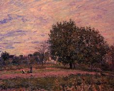 Walnut Trees Sunset - Early Days of October  1882 Paintings | Alfred Sisley paintings