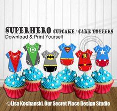 INSTANT DOWNLOAD Superhero Baby Shower Decorations Superhero Baby Shower Cupcake…