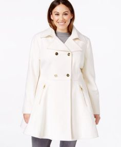 Laundry by Shelli Segal Plus Size Double-Breasted Flared Peacoat