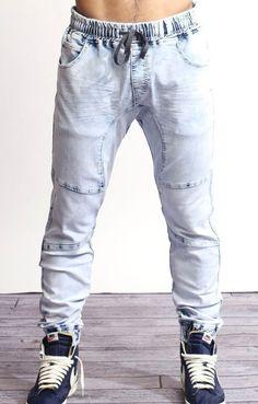 "(JOGGER Men Elastic Waist Drop Crotch denim Harem Jogger Stretch I'll say it again. ""I luke these""! I think it's a very KOOL looking alternative to sweat pants! Jogg Jeans, Denim Jeans, Fashion Wear, Mens Fashion, Mens Jogger Pants, Slim Fit Trousers, Drop Crotch, Women's Leggings, Casual Wear"