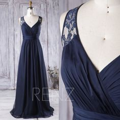 2016 Navy Blue Bridesmaid Dress Long, V Neck Wedding Dress, Lace Hollow Back Prom Dress, Chiffon Evening Gown Floor Length (J048)