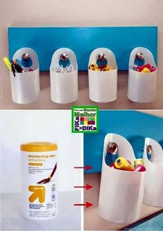 Recycled Plastic Bottles - Recycle plastic bottles can turn into anything, including crafts. Instead of letting plastic bottles inside the trash can Reuse Plastic Bottles, Plastic Bottle Crafts, Recycled Bottles, Fun Crafts, Diy And Crafts, Wipes Container, Pot A Crayon, Diy Recycle, Recycled Crafts