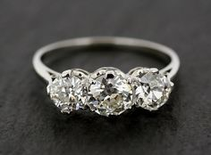 Antique Diamond Engagement Ring - Three Stone Diamond & Platinum Antique Edwardian Engagement Ring on Etsy, $16,886.30