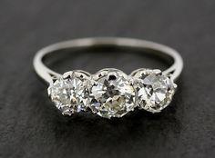 Antique Diamond Engagement Ring - Three Stone Diamond  Platinum Antique Edwardian Engagement Ring on Etsy, $16,886.30