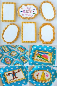 """The second party project was for each guest to color their own """"cookie canvas"""" (inspired byThe Decorated Cookie ). I baked and iced (withroyal icing ) large cookies in a couple different shapes. I prepared the cookies (and added the frame)just as I did fortheValentine'scookies I posted HERE . Be sure to allow at least one full day (or more) for theicing to dry before the kids are going to color them. I provided the guests with food color markers, and they had fun being creative!"""