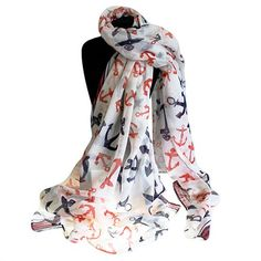 Scarves Wholesale Neat And Nautical - Ancors Away Scarf #Wholesale_Scarves #Scarves_Wholesale #Large_Scarves #Unique_Scarves