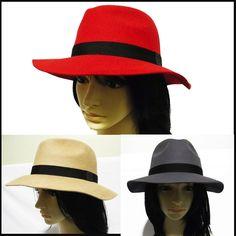New Womens ladies Vintage Floppy Wide Brim Wool cowboy Panama Safari Fedora  Hat 04fe81159324
