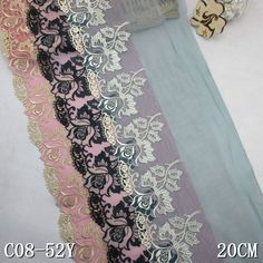 """Tulle lace embroidery 20cm/8"""" inch bulk floral embroidered lace material"""