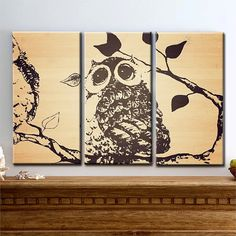 """""""Hoo Are You""""- Large Canvas Art, 3 Panel, Owl, Zoo, Branch, Tree, Triptych, Home Decor, Faux Bamboo, READY TO HANG"""