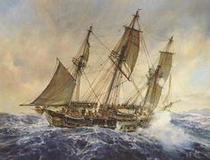 """""""Blue at the Mizzen"""" print inspired by Patrick O'Brian's novel. HMS Surprise battles the seas off Cap Pilar after rounding the Horn."""
