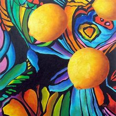Psychedelic Lemons-Original Still Life Oil Painting by Marina Petro Original art painting by Marina Petro - DailyPainters.com