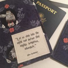 Passport Cover, luggage tag set Harry Potter inspired Dumbledore Quote passport case by destinationhandmade on Etsy