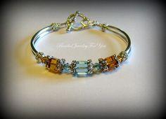 Antiqued Pewter Aquamarine and Topaz Swarovski Crystal Bridal Bangle Bracelet $26.99 on etsy by beadedjewelryforyou