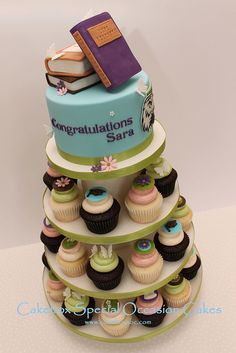 Teacher Graduation Cupcake Tower by cakeboxsoc, via Flickr