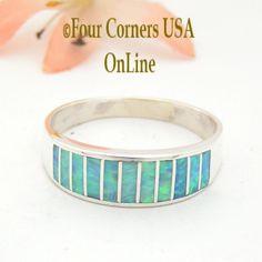 Four Corners USA Online - Size 12 Light Blue Fire Opal Inlay Wedding Band Ring Ella Cowboy WB-1607, $135.00 (http://stores.fourcornersusaonline.com/size-12-light-blue-fire-opal-inlay-wedding-band-ring-ella-cowboy-wb-1607/)