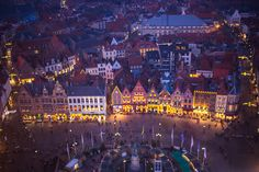 Gorgeous sunset view of Bruges Markt square and Christmas Market from the top of the belfry. Brugge (Bruges), Belgium in winter for Christmas