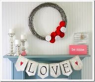 Valentine's Day Mantel Decorating Ideas