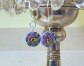 Tiny Norwegian Rosemaled Earrings Blue