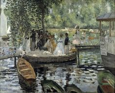 Several pairs of paintings exist in which Pierre-Auguste Renoir and his friend Claude Monet , working side-by-side, depicted the same scenes, for example La Grenouillère, featured above. Renoir uses. Pierre Auguste Renoir, Claude Monet, Post Impressionism, Impressionist Art, August Renoir, Renoir Paintings, Limousin, Pics Art, French Artists