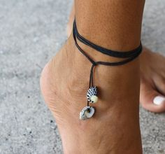 Zebra Seashell Multiuse Black String Jewelry  Anklet, bracelet or necklace by Rum Cay Island Jewelry, $9.95