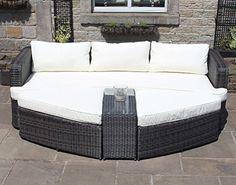 Brown Rattan Lounge Set Sofa with Table