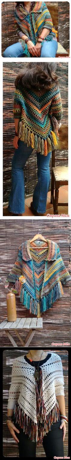 Пончо, кардиган и туника на основе квадрата - Вязание - Страна Мам Crochet Cardigan, Crochet Shawl, Knit Crochet, Diy Fashion, Fashion Beauty, Autumn Fashion, Womens Fashion, Crotchet Patterns, Crochet Clothes