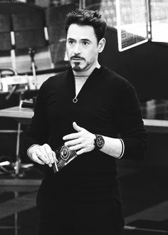 """Robert Downey Jr. as Tony Stark in """"Avengers: Age of Ultron""""...I already miss the glowing light in his chest..."""