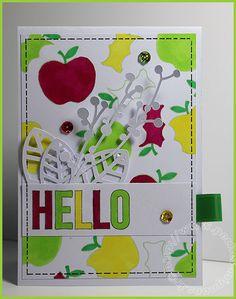 Carte Scrap #333 - Carte Hello - Pomme - Apple