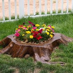 Tree Stump Garden more ideas and tutorial on the website