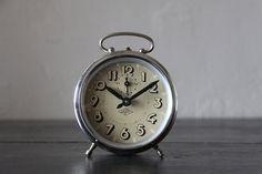 French Vintage Alarm Clock Japy Chrome by RueVertdegris on Etsy