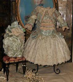 ~~~ Marvelous French Aqua Blue Silk Costume with Bonnet ~~~
