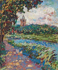 Jan Sluijters - Landschap met kerktoren (1907)