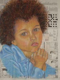 Portrait of a little boy: pastel on news print by Val Myburgh Art New Print, Freelance Illustrator, Little Boys, Painting & Drawing, Mona Lisa, Pastel, African, Paintings, Portrait