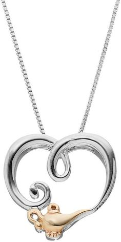 Disney's Aladdin Two Tone Sterling Silver Heart Pendant