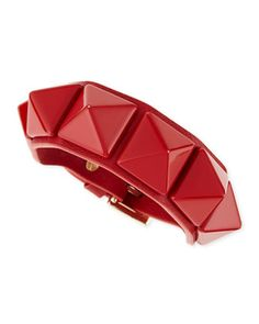 Medium Rockstud Leather Bracelet, Red by Valentino at Neiman Marcus.