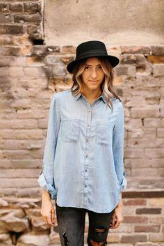 Denim Button Down Blouse- Lightwash | | THE ROSE NEST