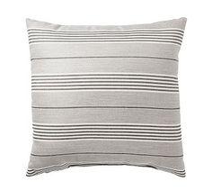 """Sunbrella Hansen Stripe Indoor/Outdoor Pillow, 20"""", Smoke"""
