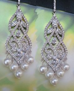 Bridal Chandelier Earrings with Sparkling Cubic Zirconia and Lux Freshwater Pearls by One World Designs Bridal Jewelry