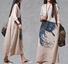Ethnic Print Dress Maxi Long Dress Cotton Loose Dress Oversized Kaftan Printed Dress Women Plus Size Clothing SD076