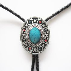 American Indian Southwest Western Cowboy Rodeo Bolo Tie Blue color Stone #BeltsNJewelry