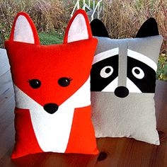 Make a cuddly Fox and Raccoon Pillow with an optional pocket on the front or back perfectly sized for the Tooth Fairy. This smaller sized pillow is just right for toddlers or as an accent pillow for any age.   Also included are instructions to make sweet Fox and Raccoon Babies in felt that fit into the pockets. Make them as tiny toy, ornaments or stocking stuffers.
