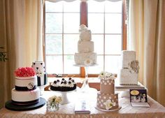 This dessert table created by Jirinas Bakery showcases 6 of her most stunning cakes!