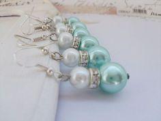 Tiffany Blue  Bridesmaid set  - Bridesmaid earrings set of 4 -  Bridal Jewelry set -  Blue Wedding on Etsy, $18.00