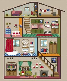 Cross Stitch Kits, Cross Stitch Patterns, Cross Stitching, Cross Stitch Embroidery, Cardboard Dollhouse, Stitch Doll, Art Drawings For Kids, Bazaar Ideas, House Quilts