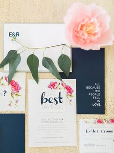Navy and pink wedding invitations | Rebecca Arthurs Photography | see more on: http://burnettsboards.com/2015/04/oahu-ranch-wedding/