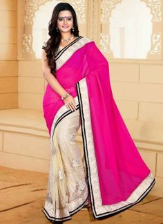 Precious Pink Beige Butta Work Georgette Net Party Wear Sarees http://www.angelnx.com/Sarees/Party-Wear-Sarees