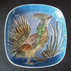 Fabulous Jo Lester Isle of Wight Pottery Square Dish with Bird Design #Dish